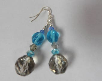 Handmade blue and silver dangle and drop earrings