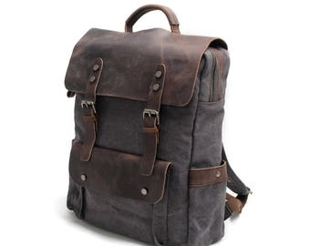 Macbook Backpack / Waxed Canvas Backpack / Father's Day Gifts / Laptop Backpack / Leather Backpack / Men Backpack / Women Backpack