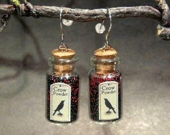 Bottle earrings (crow) - 925 silver