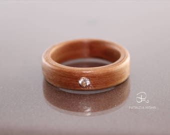 Bentwood ring pear wood ring cubic zirconia