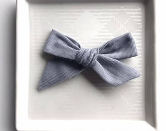 Gray Corduroy Hand Tied Bow - Baby Girl Nylon Headband and Bows - Girls Fabric Bow - Newborn Bow - Corduroy Bow - Holiday Bow - Gray Bow