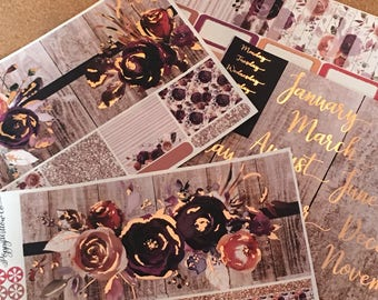 Rustic Florals Rose Gold Foiled 12 Months Classic HAPPY PLANNER MONTHLY Spread Decorative Sticker Set | January to December