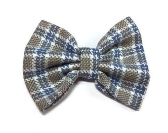 Grey white plaid matching dogs bow tie for owner