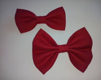 RED linen DOGbowtie for pup summer outfit owner matched