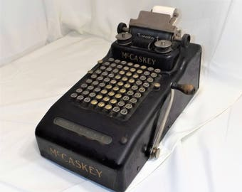 Antique 1920's Vintage McCaskey 8 Row Mechanical Adding Machine