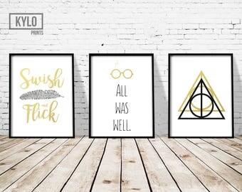 """Harry Potter Print set of 3 8x10"""" Faux Gold Foil, Deathly Hallows Art print, Printable Art, Harry Potter Fan Art, Deathly Hallows Logo Print"""