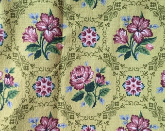 "Vintage Barkcloth Roses 2 yards 24""  long   Large piece"