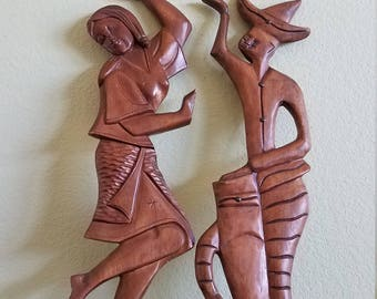 Vintage Wood Carved Dancing Couple Wall Decor