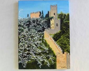 Original oil painting on canvas castle marostica cherry trees blossom spring season italy landscape castello di marostica veneto cigliegi