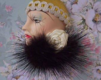Vintage Art Deco Ladies Head with Mink Collar Brooch.
