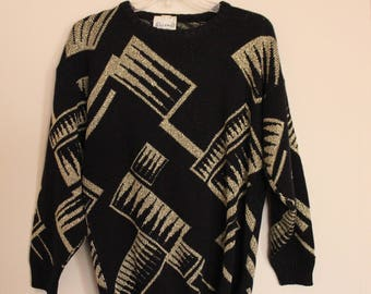 Vintage Abstract Sweater - Black & Gold Metallic Glitter - Women's M/L
