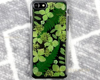 Unique Green Pressed flowers case for her gift cute iphone X case cover skin for iphone 5 5s se 6 6s 7 8 plus cases floral natural real leaf