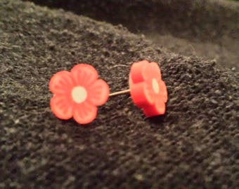 Red and yellow flower earrings