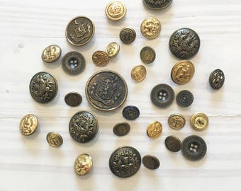 Lot of Military Buttons, 32 Metal Buttons, Vintage Buttons, Costume Buttons, Gold Buttons, Brass Buttons, Bronze Buttons, Army Buttons