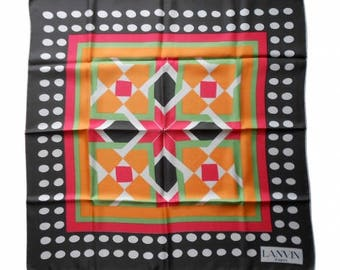 Lanvin : multicoloured silk scarf, vintage 70s