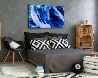 Vacancy--24x36 abstract resin painting with deep blues, shimmering charcoals and silvers & small pops of magenta