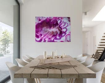 Bloom | Abstract acrylic and glossy resin painting | 24x36 cradled wooden panel | Pink, magenta, shimmering metallic silver & deep purple