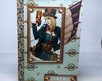 Male/Female Steampunk Fantasy Birthday Card - luxury personalised quality bespoke UK cogs fantasy - mum/dad/brother/sister/son/daughter
