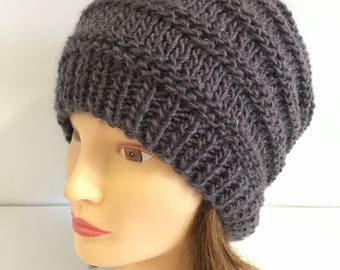 Chunky Wool Beanie, Unisex Hats, Mauve Hipster Slouchy Beanie, Light Purple Knit Hats, Girlfriend Gift Hat, Warm Winter Holiday Outdoor Hat