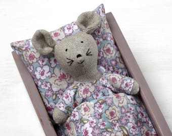 Doll bed box, doll mattress, doll bedding, wooden doll bed, doll furniture, gift for girl, linen mouse, doll mouse, toy mouse, linen toy.