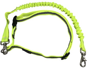 iRun Runners Belt With Springy Leash Fluorescent Safety Yellow with Reflective Stripe