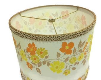Barrel Lampshade - Vintage 1972 Elegante Fabric