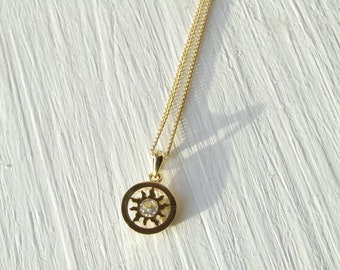 Sun pendant, layering necklace, minimalist jewelry, gold necklace