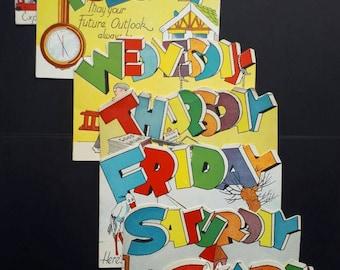 Unused Vintage Birthday Cards Days of the Week