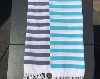 Striped Blue Turkish Cotton Beach Towel