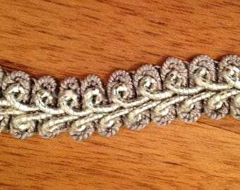 Vintage Gray Braided Trim with Metalic Like Center Layer, 3 Yards