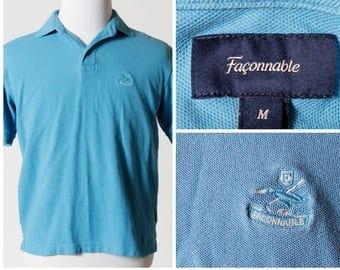Vintage Men's Faconnable Polo Shirt Crest Short Sleeve - 90s Retro Medium M