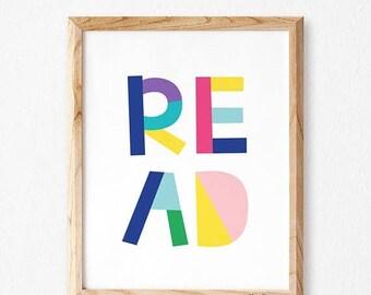 Kids wall art, Childrens art for kids. Read wall art, Inspiration Typography Prints- Playroom decor, Kids wall art, colorful playroom, STM