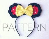 Minnie Inspired Crochet Mouse Ears//Crochet Pattern//Minnie Mouse//Disney Ears//Crochet Mouse Ears//Mouse Ear Headband//DIY Headband