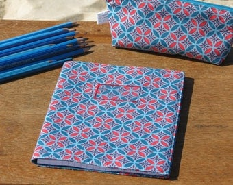 """back to school"" notebook cover printed cotton with geometric turquoise and Red"