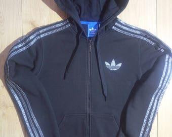 Adidas Originals 90's Vintage Mens Hoodie Tracksuit Top Jacket Hooded Black Gray