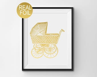 "Real Gold Foil Print, ""Vintage Pram"", Wall Art, Gold Home Decor, Gold Nursery Decor, New Baby Gift"