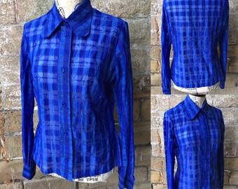 Vintage 1960s Electric Blue Translucent Shirt - UK Size 12/US Size 8