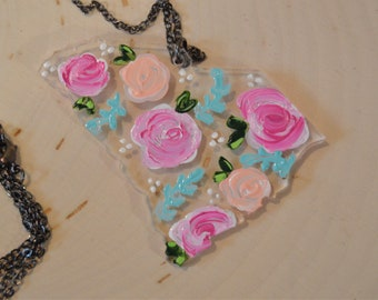 Floral Painted State Pendant Necklace, Acrylic, laser cut, painting, acrylic painting, artist, flowers, roses, floral, handpainted