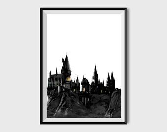 Grabado Arte Hecho A Mano Hogwarts Cartel Harry Potter