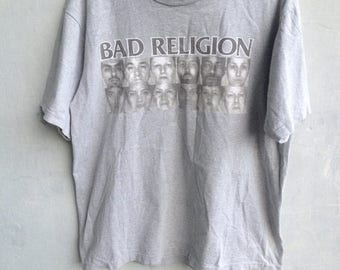 20% OFF SALE 90s Vintage Bad Religion The Gray Race Distressed Tee Shirt