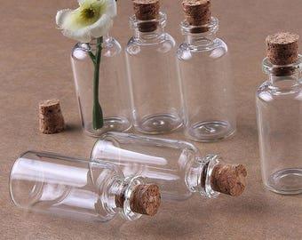 20pcs 10ml Small Cork Stopper Glass Bottles, Cute Mini Wishing Glass Bottles