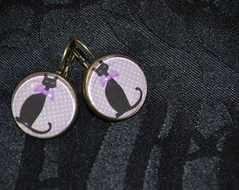 Pink and black cat earrings