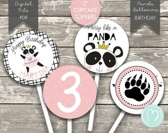 GIRL PANDA Cupcake Toppers/Panda Birthday Party/Pink/Printable cupcake toppers/Panda Party Circles/Digital File/Wild Panda