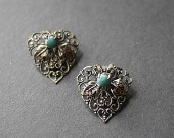 Filigree vintage clip on earrings with leaf design and turquoise coloured stones