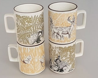 "Four Fabulous ""Countryside"" mugs by Hornsea Lancaster Vitramic England. Ruth Holmes 1970's Badger Deer Dormouse Rabbit Retro Graphic Design"