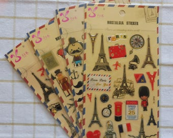 Vintage style embossed stickers in 4 assorted designs listed here and numbering