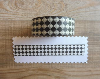 Tape 1.5 cm black and white 7 m