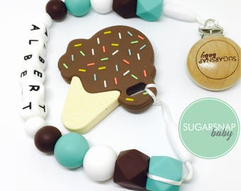 Chocolate Ice Cream Teethers for Baby & Toddlers - chewable silicone toy - BPA Free - Select a Flavor! Personalized - NEW BABY gift