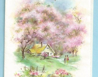 """1960s Cozy and Sweet Birthday Card """"A Birthday Message"""" Country Cottage"""