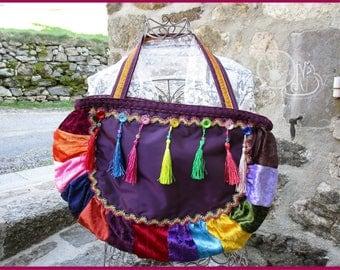 Bag Bohemian patch purple background